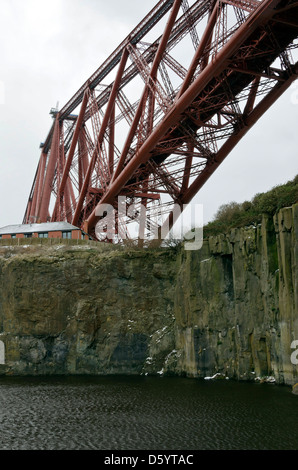 The north end of the Forth Bridge (railway bridge) over the River Forth on Central Scotland. - Stock Photo