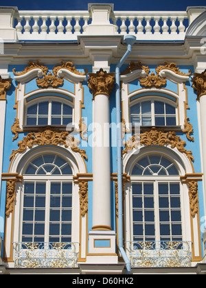 Facade of Catherine Palace, Tsarskoe Selo,Pushkin - Stock Photo