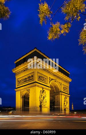 Arc de Triomphe at place Charles de Gaulle in Paris - Stock Photo
