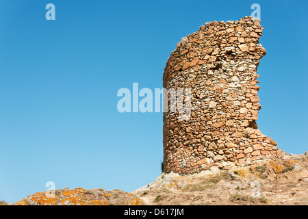 Ruins in fortress at Tossa de Mar - Stock Photo