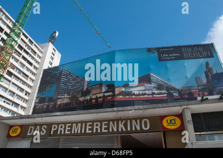 A sign with the lettering 'The Cinema for Premieres' has been placed above the entrance to the Zoo Palace, which - Stock Photo