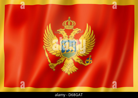 Montenegro flag, three dimensional render, satin texture - Stock Photo