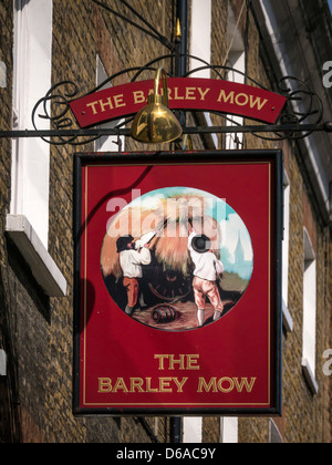 Sign for the Barley Mow Pub, just off Baker Street in the Marylebone area of London - Stock Photo