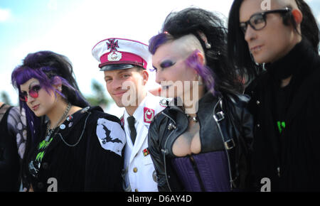 Visitors gather at the M'era Luna Festival in Hildesheim, Germany, 11 August 2012. About 20 000 gothic, darkwave - Stock Photo