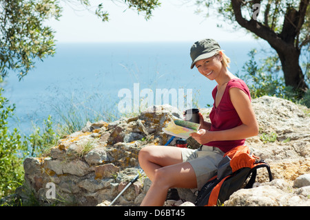 on the move,rest,hiker - Stock Photo