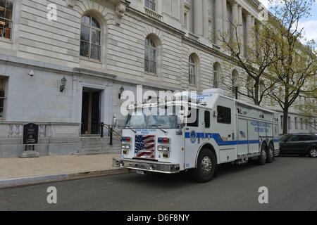 Washington, DC, USA. 17th April, 2013. A Capitol Police hazardous materials unit waits outside the the U.S. Senate's - Stock Photo