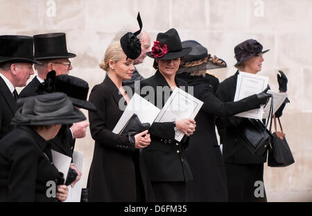 London, UK, 17 Apr. 2013.  Singer, Katherine Jenkins, is amongst the mourners as they leave the funeral service - Stock Photo
