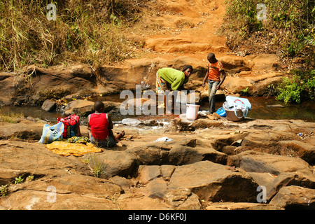 FONGO-TONGO, CAMEROON - JANUARY 20: African young woman with young men washing clothes in a river on January 20, - Stock Photo