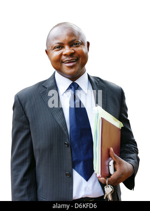 African business man in suit isolated on white. - Stock Photo