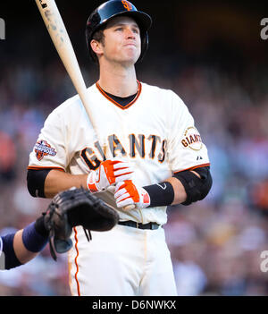 San Francisco, USA. 21st April, 2013. San Francisco Giants catcher Buster Posey (28) in action during the MLB baseball - Stock Photo