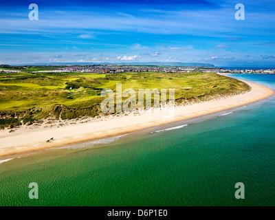 Royal Portrush Golf Club, White Rocks Strand, Co Antrim Aerial Horses on beach - Stock Photo