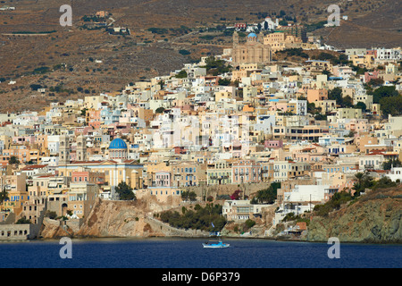 Ermoupoli (Khora) and Ano Syros, Syros Island, Cyclades, Greek Islands, Greece, Europe - Stock Photo