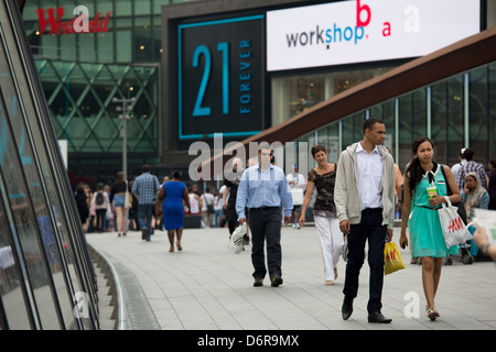 London, United Kingdom, footbridge at Westfield Stratford City Shopping Centre - Stock Photo