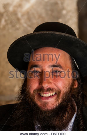 Hassidic Jewish man in the Prayer Hall, Western Wall (Wailing Wall), Old City, Jerusalem, Israel. - Stock Photo