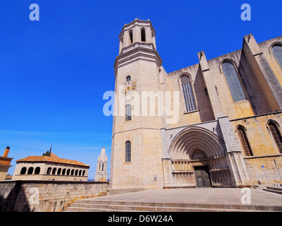 Cathedral in Girona - beautiful spanish city in the province of Catalonia - Stock Photo
