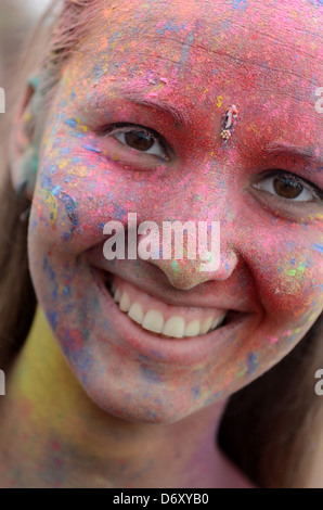 Berlin, Germany, Berlin celebrate the Indian Holi festival at Postbahnhof - Stock Photo
