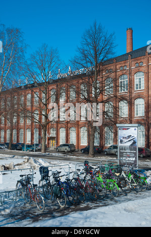 Bicycles parked in front of Porin Yliopistokeskus the University of Pori main building Pori Finland Europe - Stock Photo