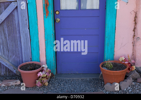 Detail of a colorful storefront in the former mining town of Madrid, NM. - Stock Photo