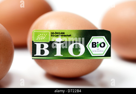 Egg with bio-seal, symbolic photo wrong declared biology eggs - Stock Photo