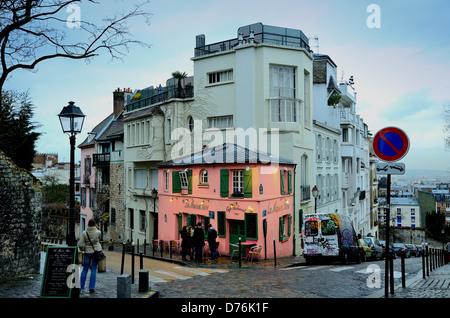 Exterior of La Maison Rose restaurant Montmartre Paris - Stock Photo