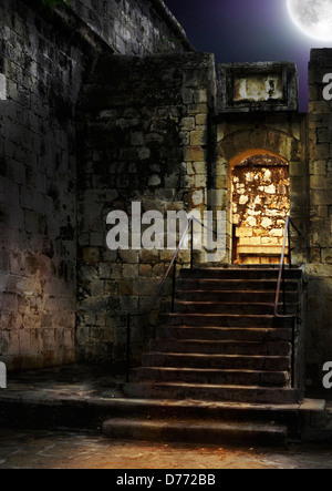 Spooky ancient castle entrance or cellar door way lit from behind with a full moon in the night sky - Stock Photo