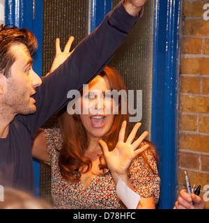 David Tennant and Catherine Tate meet with fans outside the Wyndhams Theatre after performing in 'Much Ado About - Stock Photo