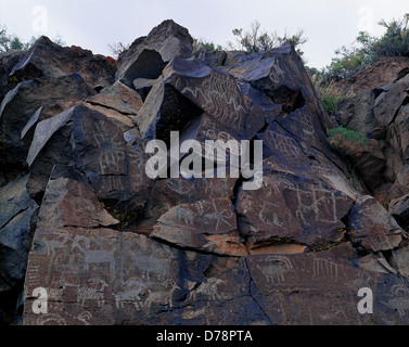 Basalt wall covered Great Basin Curvilinear Rectilinear Abstract Petroglyphs some Coso influence desert Bighorn - Stock Photo