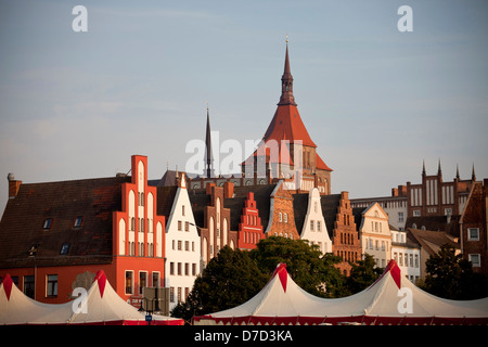typical gables and St. Mary's Church Marienkirche in the Hanseatic city of Rostock, Mecklenburg-Western Pomerania, - Stock Photo