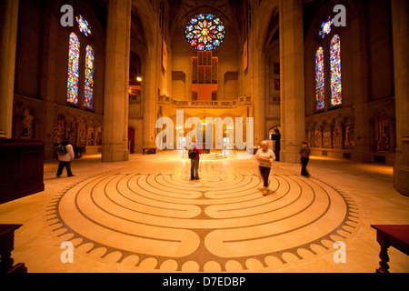 Labyrinth inside Grace Cathedral, San Francisco, California, United States of America, USA - Stock Photo