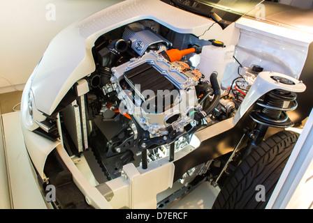 Paris, France, Toyota Corporation, New Car Showroom, Inside Store, 'Auris Hybrid' Concept Car, open hood showing - Stock Photo