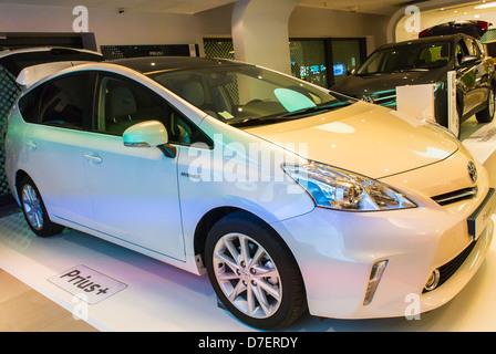 Paris, France, Toyota Corporation, New Car Showroom, Inside Store, Prius, Hybrid Car - Stock Photo