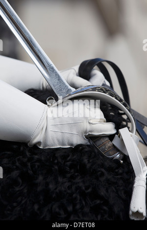 Her Majesty the Queens Horse guard close up of White Gloved Hand and Sword - Stock Photo