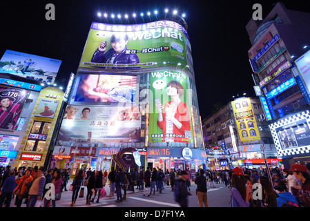 Crowds in Ximending District January 19, 2013 in Taipei, Taiwan. - Stock Photo