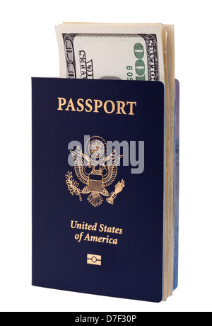 A USA passport (with biometric chip) several 100 US$ money notes peeping out from within it. Isolated on white background. - Stock Photo