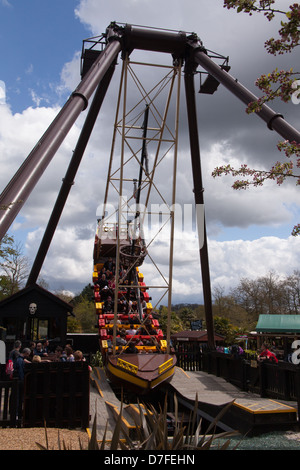 Jolly Rocker swing boat ride at Legoland Windsor, London, England, United Kingdom. - Stock Photo