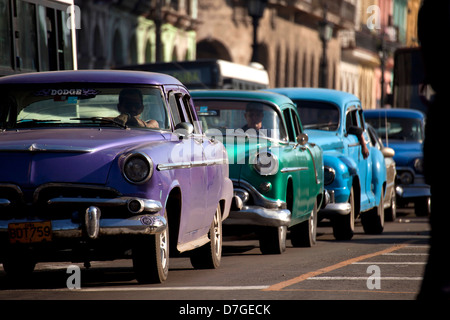 vintage US cars from the 50`s in the streets of Havana, Cuba, Caribbean - Stock Photo