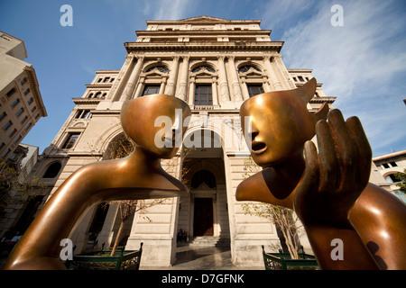 modern art in front of the former Havana Stock Exchange or Lonja del Comercio building on Plaza de San Francisco - Stock Photo