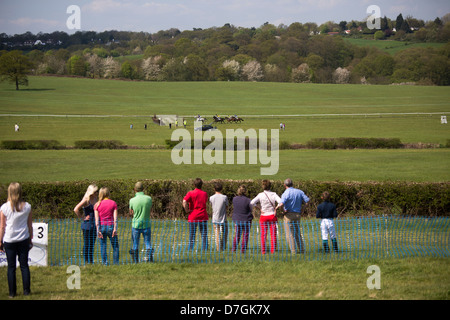Northaw Point to Point Course Horse Racing Bank Holiday Monday 6th May 2013. - Stock Photo