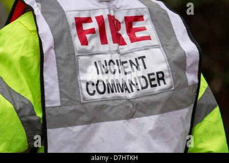 Formby, Merseyside, UK  8th May, 2013. Command in Fire and Rescue Services_ Fire Incident Commander at the Rescue - Stock Photo