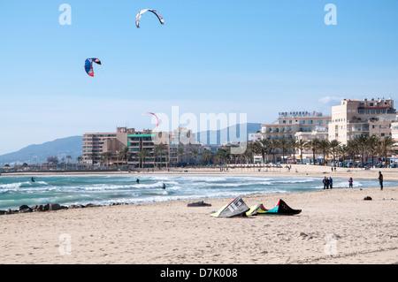 Surfer's beach, Can Pastilla, Majorca. - Stock Photo
