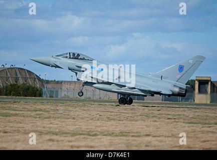 UK Air Force Eurofighter EF-2000 Typhoons FGR4 at RAF Leuchars Fife. Scotland.   SCO 9047 - Stock Photo