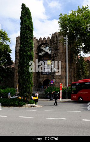 Poble Espanyol was built for 1929 International Exhibition held in Barcelona. The Spanish Village is an open-air - Stock Photo