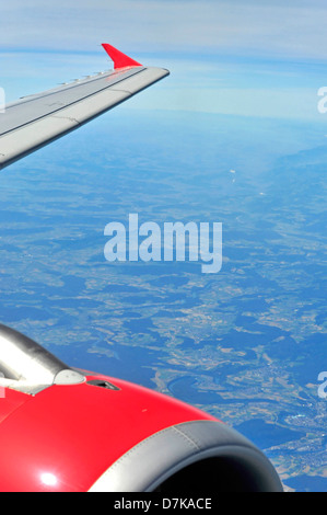 View from airplane window - Stock Photo