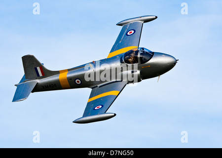 G-BWDS XM424 Hunting Percival Jet Provost Flying at Old Warden Airshow Shuttleworth - Stock Photo