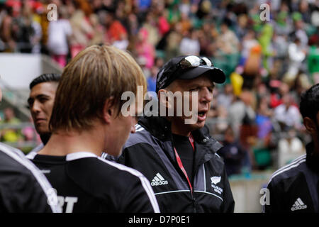 London, UK. 11th May 2013. New Zealand coach Gordon Tietjens after the match against New Zealand during the Marriott - Stock Photo