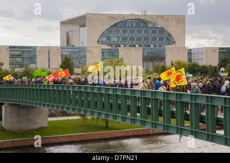 anti-nuclear demonstration in government district, Berlin - Stock Photo