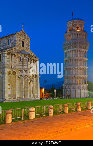 Pisa, Cathedral, Duomo, Leaning Tower at Dusk ,Piazza del Duomo, Cathedral Square, Campo dei Miracoli, UNESCO world - Stock Photo