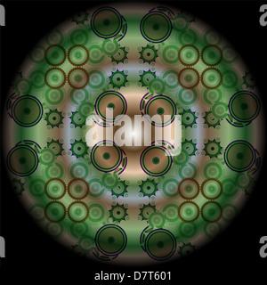 abstract green mandala pattern - Stock Photo