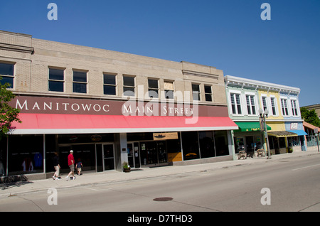 Wisconsin, Manitowoc. Historic downtown Manitowoc, 8th Street. - Stock Photo