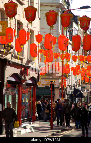 Chinese New Year Celebrations in Chinatown, London, England, United Kingdom - Stock Photo